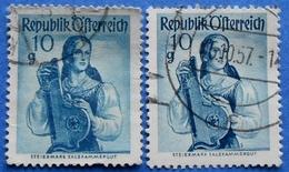 AUSTRIA 2 X 10 Gr. 1948 Mic.895 NATIONAL COSTUMES STEIERMARK (DIFFERENT COLOURS) - USED - 1945-60 Oblitérés