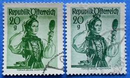 AUSTRIA 2 X 20 Gr. 1948 Mic.897 NATIONAL COSTUMES VORARLBERG (DIFFERENT COLOURS) - USED - 1945-60 Oblitérés