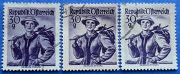 AUSTRIA 3 X 30 Gr. 1950 Mic.900 NATIONAL COSTUMES SALZBURG (DIFFERENT COLOURS) - USED - 1945-60 Oblitérés