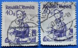 AUSTRIA 2 X 40 Gr. 1948 Mic.901 NATIONAL COSTUMES WIEN (DIFFERENT COLOURS) - USED - 1945-60 Oblitérés