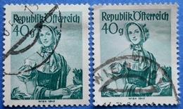 AUSTRIA 2 X 40 Gr. 1949 Mic.902 NATIONAL COSTUMES WIEN (DIFFERENT COLOURS) - USED - 1945-60 Oblitérés