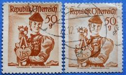 AUSTRIA 2 X 50 Gr. 1949 Mic.904 NATIONAL COSTUMES VORARLBERG (DIFFERENT COLOURS) - USED - 1945-60 Oblitérés