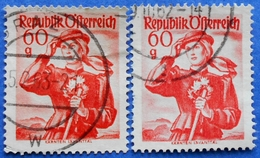 AUSTRIA 2 X 60 Gr. 1948 Mic.905 NATIONAL COSTUMES KARNTEN (DIFFERENT COLOURS) - USED - 1945-60 Oblitérés