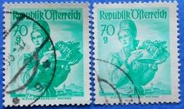 AUSTRIA 2 X 70 Gr. 1949 Mic.906 NATIONAL COSTUMES NIEDEROSTERREICH (DIFFERENT COLOURS) - USED - 1945-60 Oblitérés