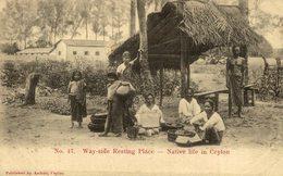 WAY SIDE RESTING PLACE NATIVE LIFE IN     Ceylon Sri Lanka - Sri Lanka (Ceilán)