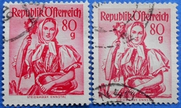 AUSTRIA 2 X 80 Gr. 1949 Mic.908 NATIONAL COSTUMES STEIERMARK (DIFFERENT COLOURS) - USED - 1945-60 Oblitérés