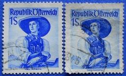 AUSTRIA 2 X 1 Sh. 1948 Mic.910 NATIONAL COSTUMES TIROL (DIFFERENT COLOURS) - USED - 1945-60 Oblitérés
