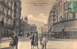 38-GRENOBLE- RUE FELIX POULAT ET EGLISE SAINT-LOUIS - Grenoble
