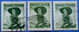 AUSTRIA 3 X 1 Sh. 1951 Mic.912 NATIONAL COSTUMES TIROL (DIFFERENT COLOURS) - USED - 1945-60 Oblitérés