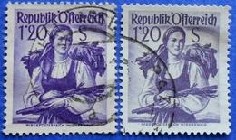 AUSTRIA 2 X 1,20 Sh. 1949 Mic.913 NATIONAL COSTUMES NIEDEROSTERREICH (DIFFERENT COLOURS) - USED - 1945-60 Oblitérés