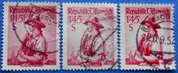 AUSTRIA 3 X 1,45 Sh. 1951 Mic.915 NATIONAL COSTUMES WILTEN (DIFFERENT COLOURS) - USED - 1945-60 Oblitérés