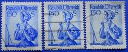 AUSTRIA 3 X 1,50 Sh. 1951 Mic.916 NATIONAL COSTUMES WIEN (DIFFERENT COLOURS) - USED - 1945-60 Oblitérés
