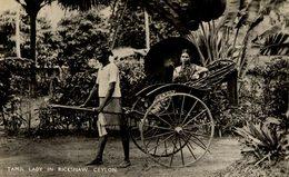 Real Photo Post Card  TAMIL LADY RICKSHAW      Ceylon Sri Lanka - Sri Lanka (Ceilán)