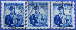 AUSTRIA 3 X 2,40 Sh. 1951 Mic.920 NATIONAL COSTUMES KIZTBUHEL (DIFFERENT COLOURS) - USED - 1945-60 Oblitérés