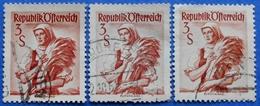 AUSTRIA 3 X 3 Sh. 1949 Mic.922 NATIONAL COSTUMES BURGENLAND (DIFFERENT COLOURS) - USED - 1945-60 Oblitérés