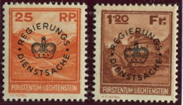 Liechtenstein Dienstmarken 1933 #D9* + D10*   Falz Kat. 180,- Fr. - Service