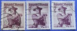 AUSTRIA 3 X 5 Sh. 1948 Mic.925 NATIONAL COSTUMES ZILLERTAL (DIFFERENT COLOURS) - USED - 1945-60 Oblitérés