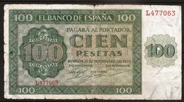 Billet 100 Pesetas 1936 BURGOS. Espagne/ España. Série L - [ 2] 1931-1936 : Repubblica