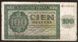 Billet 100 Pesetas 1936 BURGOS. Espagne/ España. Série H - [ 2] 1931-1936 : Repubblica
