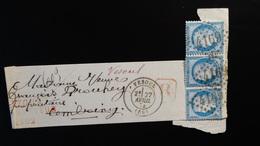 Bande Type Journal Pour Pli Recommandé (fragment) -Gc 4169 Sur Bde 3 X  25c Cérès - Année - 1849-1876: Classic Period