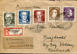 20094 Germany,circuled Registered Cover 1949 Weimar, Goethe Year, Annee Goethe - Writers