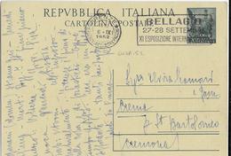 """ANNULLO A TARGHETTA """"BELLAGIO..."""" 1952 UFF. FIRENZE - ORNAGHI 647A.52 SU INTERO QUADRIGA - 1946-60: Marcophilia"""