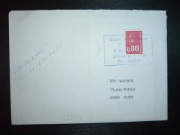 LETTRE TP MARIANNE DE BEQUET 0,80 OBL. CHAMBRE DE COMMERCE DE LAON (GREVE DE LA POSTE) - Postmark Collection (Covers)
