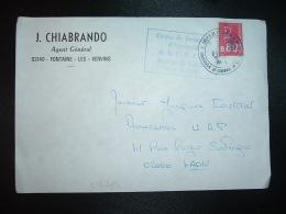 LETTRE TP MARIANNE DE BEQUET 0,80 OBL. CHAMBRE DE COMMERCE ST QUENTIN + ANNEXE DE DE LAON (GREVE DE LA POSTE) + J. CHIAB - Postmark Collection (Covers)