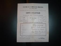 CARTE D'ELECTEUR VILLE DE LOUVIERS (27 EURE) ELECTIONS CONSEILLERS MUNICIPAUX 5 MAI 1912 + CARESME Gabriel + R. THOREL - Documents Historiques