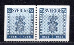 1955 SWEDEN STAMP CENTENARY TWO DIFFERENT SIDE PERF. MICHEL: 402EE PAIR MH *