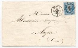 - Lettre - ARDENNES - SEDAN - PC.2855 S/TPND N° 14 Teinté Lilas + Càd Type 15 - 1858 - 1853-1860 Napoleone III