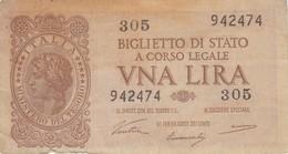 Banconote  Lire. Una, - Repubblica Italiana. - [ 2] 1946-… : Repubblica