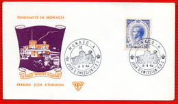MONACO PALAIS PRINCIER ILLUMINE  1964 - FDC
