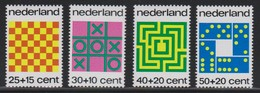 M 661) NL 1973 Mi# 1019-1022 **: Gesellschafts-Spiele Schach Dame, Tic Tac Toe, Labyrinth, Domino