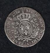 """1/10 Ecu Dit """"aux Branches D'Olivier"""" 1778 A PARIS Argent TBB Dixième D'écu Louis XVI Monnaie Royale France"""