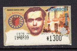 España 1999. ATM. Federico Garcia Lorca. Valor Muy Alto En Pesetas. MNH. **. - Poststempel - Freistempel