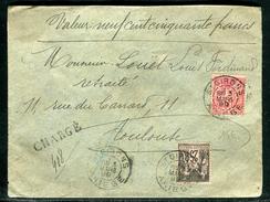 France - Enveloppe En Chargé De St Girons Pour Toulouse En 1899 , Affr. Sages  Ref M55 - Marcophilie (Lettres)