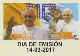 DOMINICAN REP. 2017 - Honoring The Pontificado, Pope Benedicto XVI + Pope Francisco Se-tenant - Repubblica Domenicana