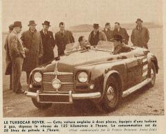 Photo (1951) : LE TURBOCAR ROVER, Voiture Anglaise équipée D'une Turbine à Gaz (9 Cm X 12,5 Cm) - Publicités