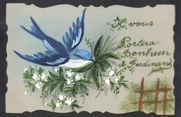 JOLIE CPA FANTAISIE CELLULOID CELLULOIDE DENTELEE Peinte à La Main Oiseau Hirondelle Muguet Porte Bonheur-#470 - Other