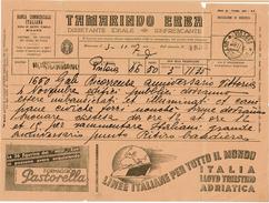 LBON12 - ITALIE TELEGRAMME PUBLICITAIRE DE NOVEMBRE 1937 DE PISTOIA A MONSUMMANO - VOIR TEXTE - 1900-44 Victor Emmanuel III.