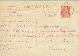CARTE-POSTALE - ENTIER-POSTAL N° 885-CP1 - Octon 28 Février 1957 Pour L'Isle Sur La Sorgue - Cachet Perlé - Postal Stamped Stationery