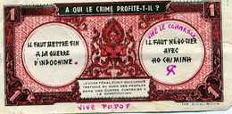 Faux Billet De Propagande Banque De L'indochine Une Piastre
