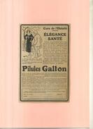 PILULES GALTON . PUB  DES ANNEES 1920 DECOUPEE ET COLLEE SUR PAPIER . - Publicidad
