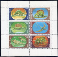 BULGARIA 1990 Prehistoric Creatures Sheetlet MNH / **.  Michel 3840-45 Kb - Blocks & Sheetlets
