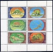BULGARIA 1990 Prehistoric Creatures Sheetlet MNH / **.  Michel 3840-45 Kb - Bulgaria