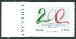Italia 2017; Corpo Di Polizia Penitenziaria, Nei 200 Anni Dall' Istituzione. Francobollo Di Bordo Sinistro. - 6. 1946-.. Repubblica