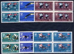 BULGARIA 1967 Winter Olympics Blocks Of 4 MNH / **.  Michel 1744-49 - Bulgaria