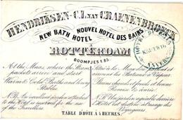 1 Kaart C1850 Porceleinkaart  ROTTERDAM Hendriksen Van Craenenbroeck New Bath Hotel Litho Cramer & Galster BOOMPJES 185 - Netherlands