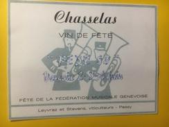 3774 - Chasselas Vin De Fête De La Fédération Musicale Genevoise  Versoix Juin 1989 - Musique